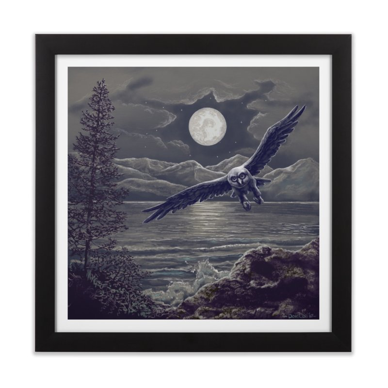 Owl over Kachemak Bay Home Framed Fine Art Print by Dan Coe Art