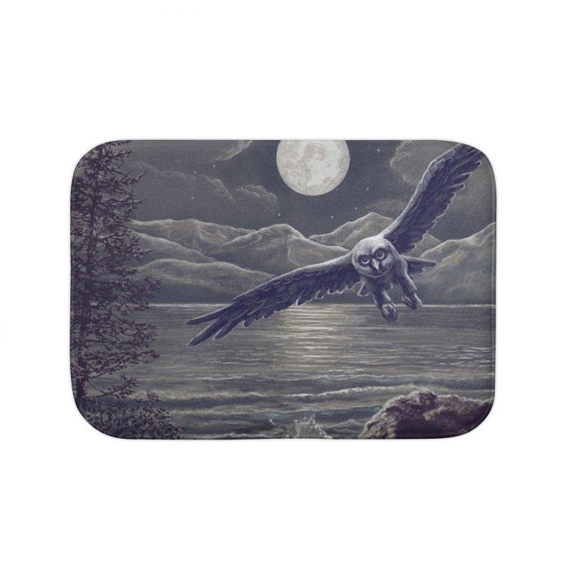 Owl over Kachemak Bay Home Bath Mat by Dan Coe Art