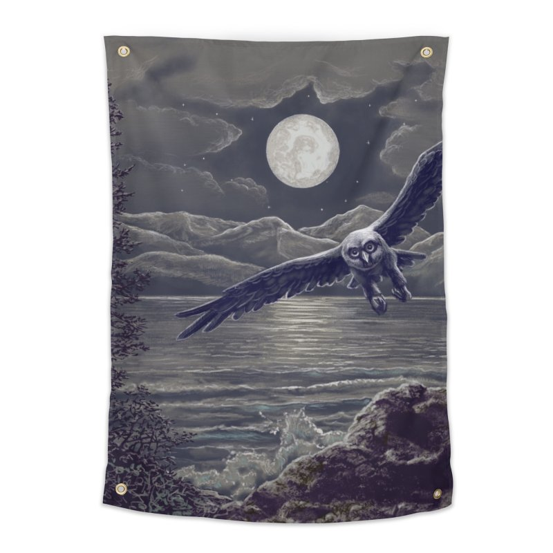 Owl over Kachemak Bay Home Tapestry by Dan Coe Art