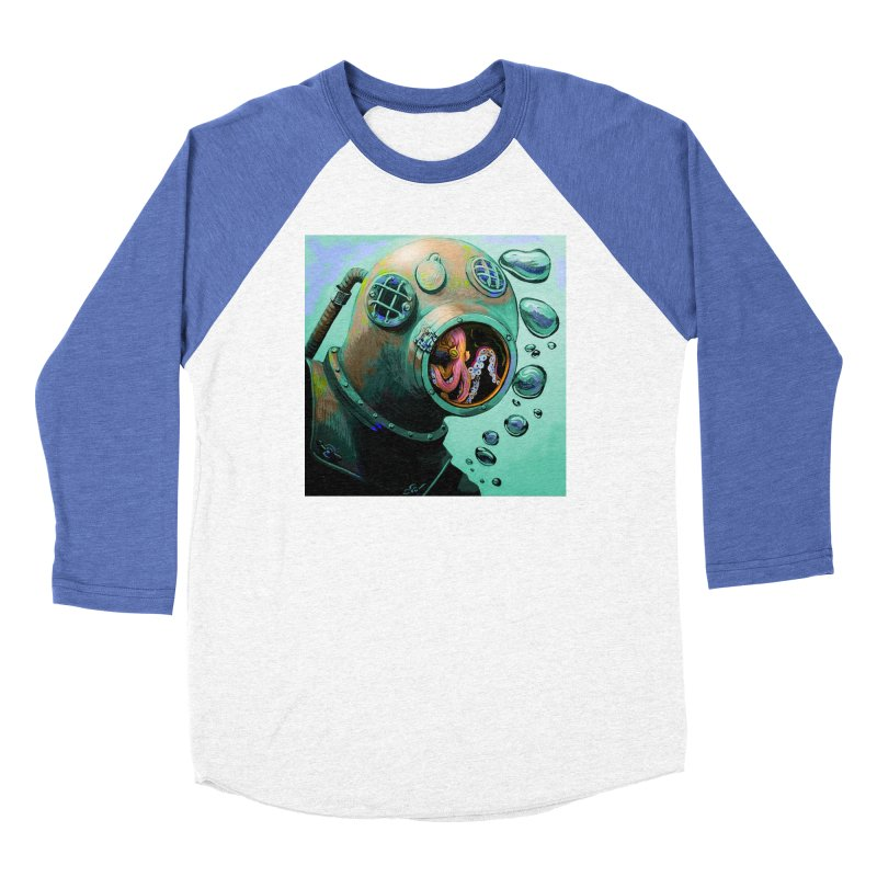 Octo Diver  Women's Baseball Triblend Longsleeve T-Shirt by Dan Coe Art