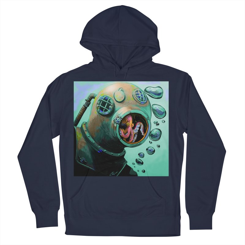 Octo Diver  Women's French Terry Pullover Hoody by Dan Coe Art