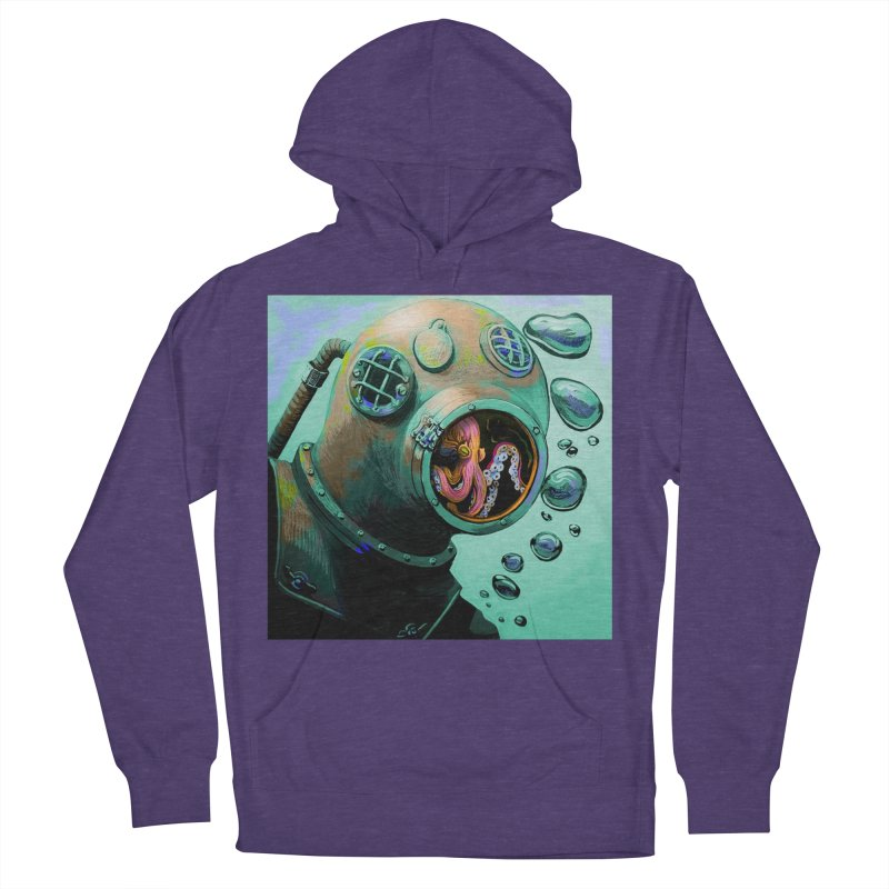 Octo Diver  Men's French Terry Pullover Hoody by Dan Coe Art
