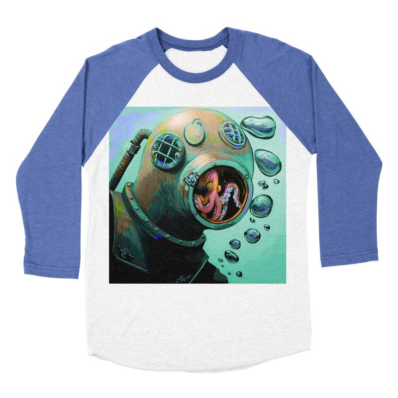 Octo Diver  Men's Baseball Triblend Longsleeve T-Shirt by Dan Coe Art