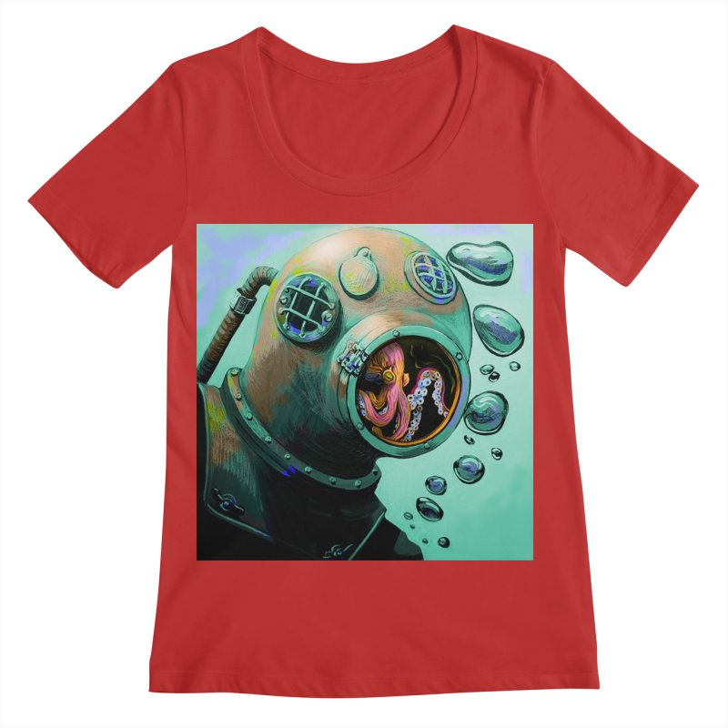 Octo Diver  Women's Regular Scoop Neck by Dan Coe Art