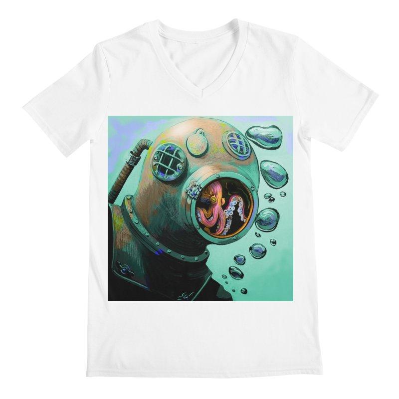 Octo Diver  Men's Regular V-Neck by Dan Coe Art