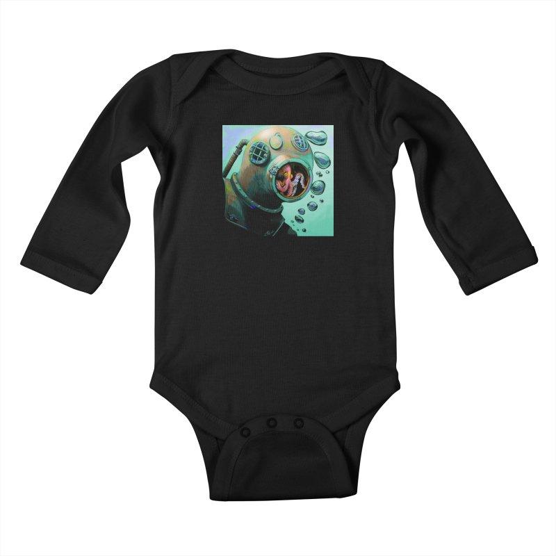 Octo Diver  Kids Baby Longsleeve Bodysuit by Dan Coe Art