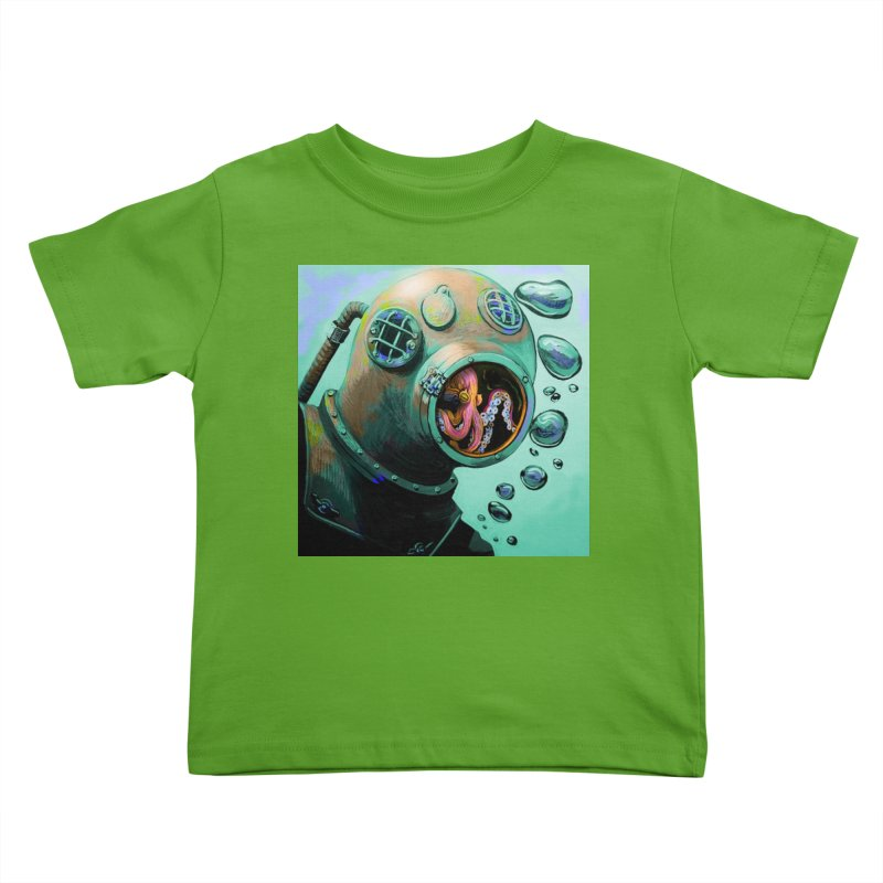 Octo Diver  Kids Toddler T-Shirt by Dan Coe Art