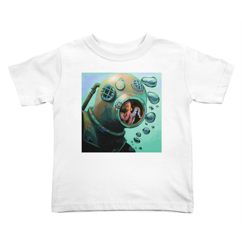 Octo Diver  Kids Toddler T-Shirt by Dan Coe Art