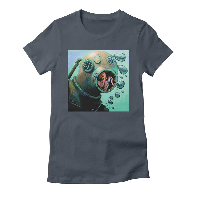 Octo Diver  Women's T-Shirt by Dan Coe Art
