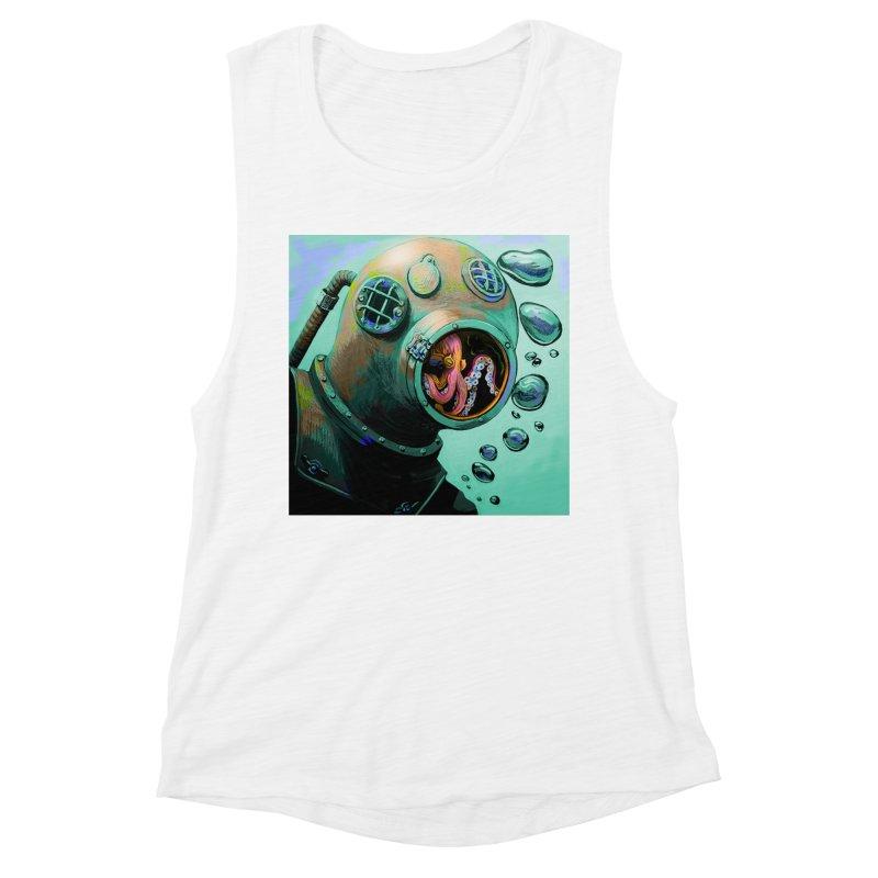 Octo Diver  Women's Muscle Tank by Dan Coe Art