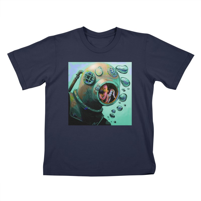 Octo Diver  Kids T-Shirt by Dan Coe Art