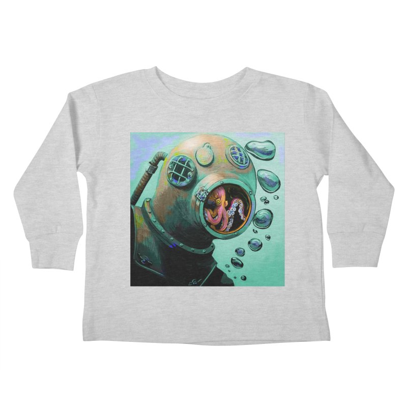 Octo Diver  Kids Toddler Longsleeve T-Shirt by Dan Coe Art