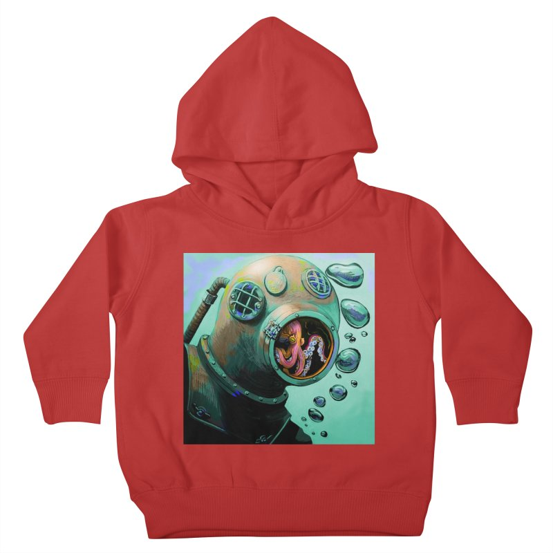 Octo Diver  Kids Toddler Pullover Hoody by Dan Coe Art