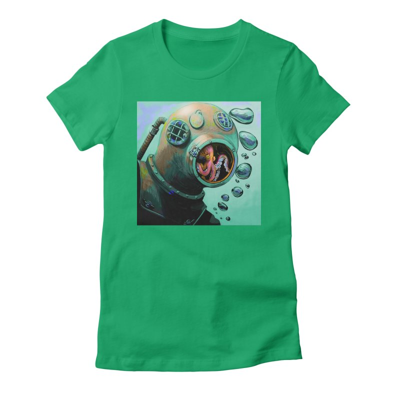 Octo Diver  Women's Fitted T-Shirt by Dan Coe Art
