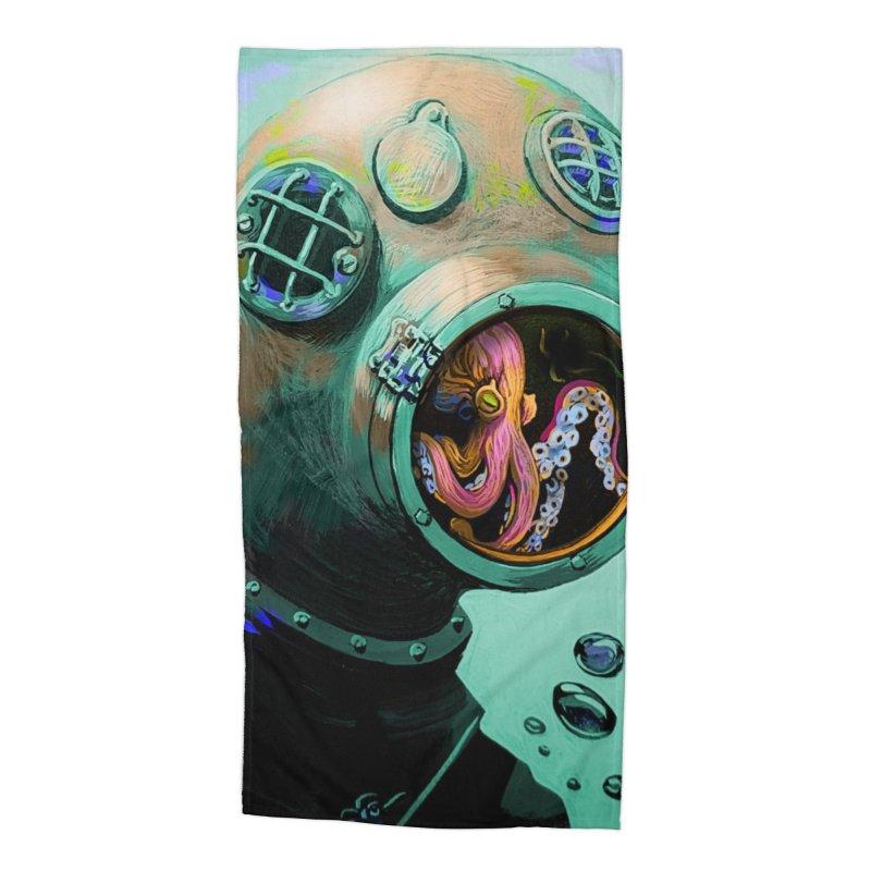 Octo Diver  Accessories Beach Towel by Dan Coe Art