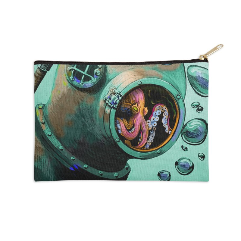 Octo Diver  Accessories Zip Pouch by Dan Coe Art