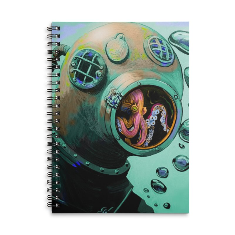 Octo Diver  Accessories Lined Spiral Notebook by Dan Coe Art
