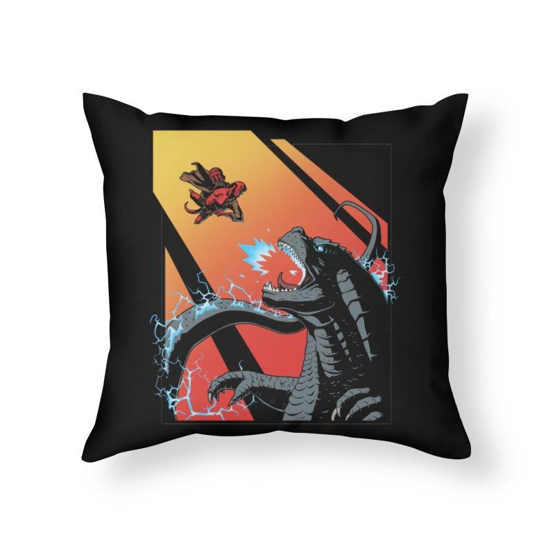Hero Monster Battle Home Throw Pillow by ArtByDanger's Artist Shop