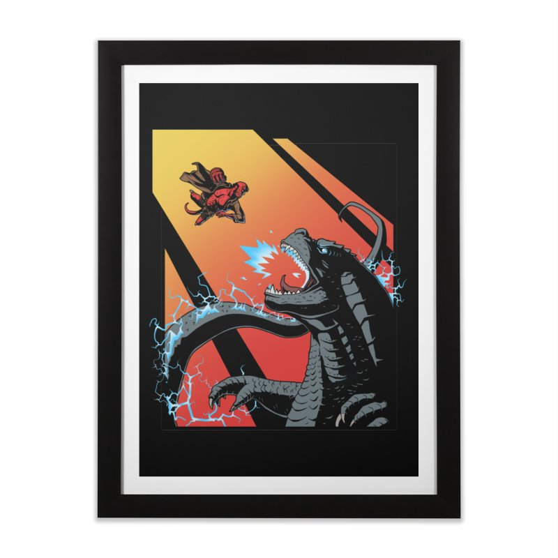 Hero Monster Battle Home Framed Fine Art Print by ArtByDanger's Artist Shop