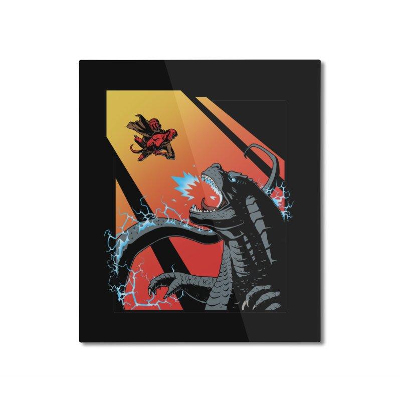 Hero Monster Battle Home Mounted Aluminum Print by ArtByDanger's Artist Shop