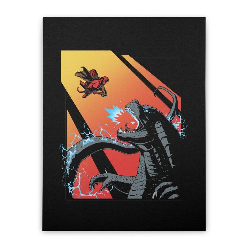 Hero Monster Battle Home Stretched Canvas by ArtByDanger's Artist Shop