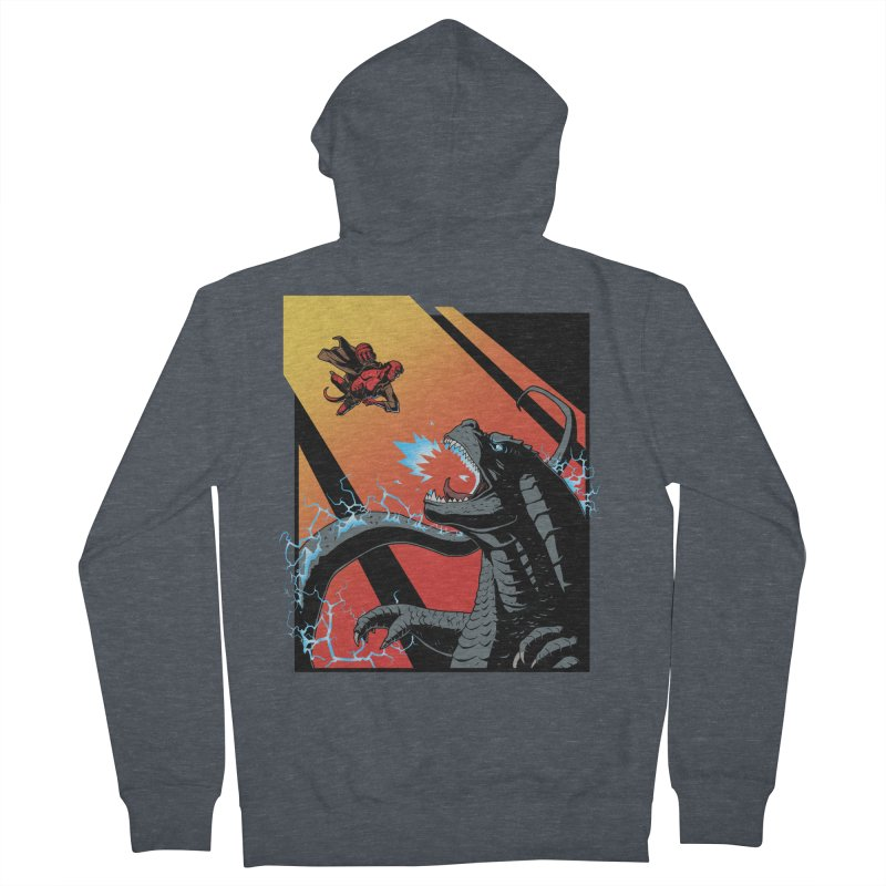 Hero Monster Battle Men's French Terry Zip-Up Hoody by ArtByDanger's Artist Shop