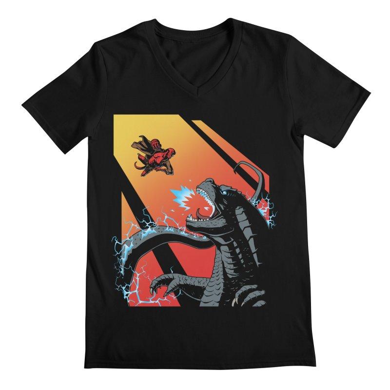 Hero Monster Battle Men's Regular V-Neck by ArtByDanger's Artist Shop