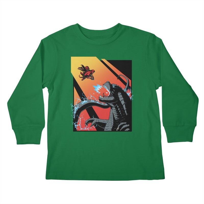 Hero Monster Battle Kids Longsleeve T-Shirt by ArtByDanger's Artist Shop