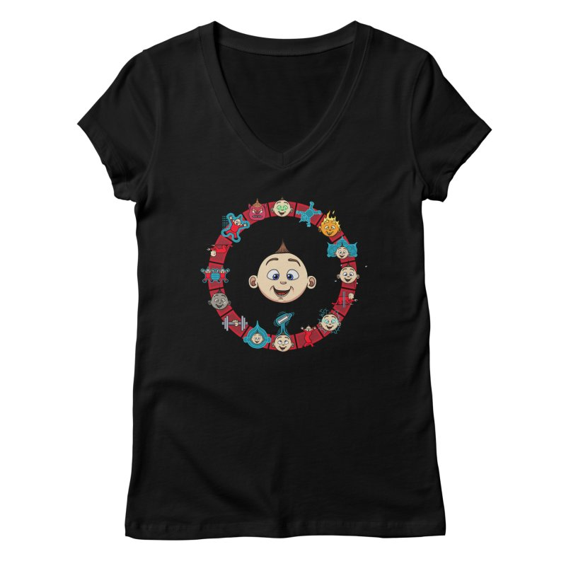The Incredible Jack Jack Women's V-Neck by ArtByDanger's Artist Shop