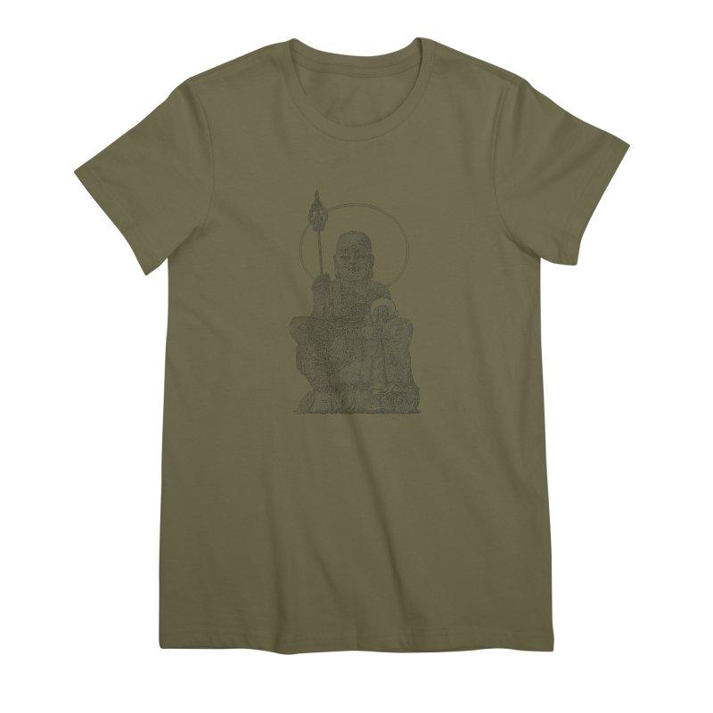 Buddha - One Continuous Line Women's Premium T-Shirt by Daniel Dugan's Artist Shop