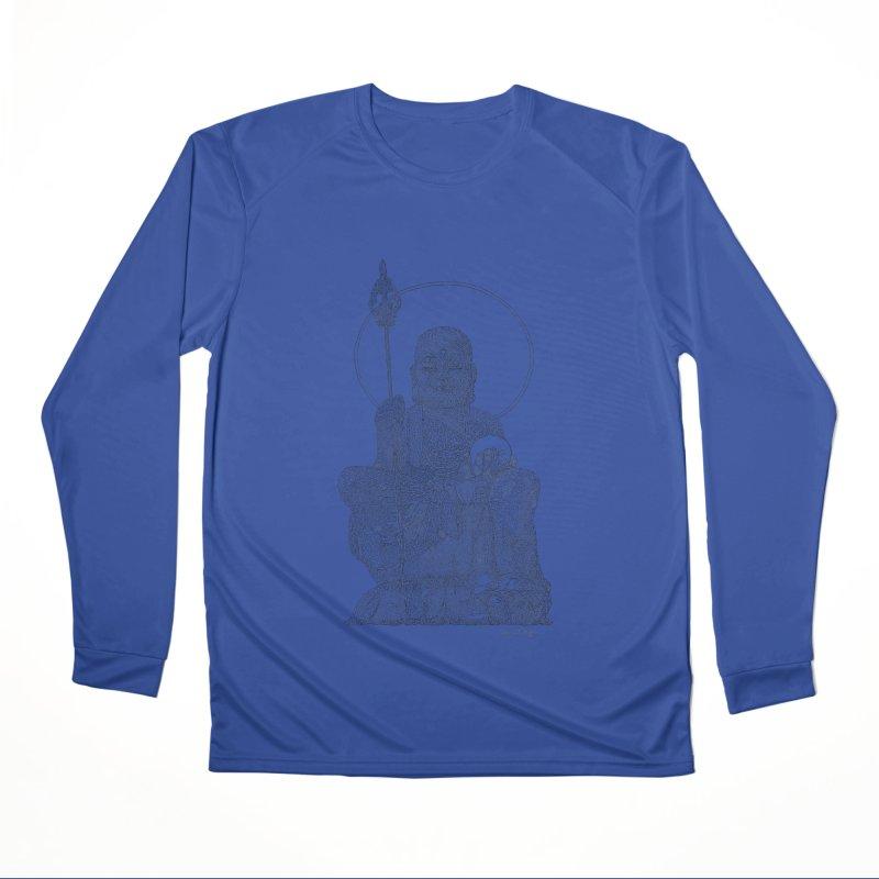 Buddha - One Continuous Line Women's Performance Unisex Longsleeve T-Shirt by Daniel Dugan's Artist Shop