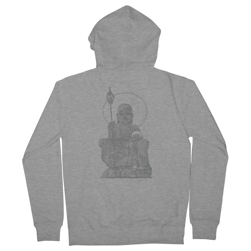 Buddha - One Continuous Line Men's French Terry Zip-Up Hoody by Daniel Dugan's Artist Shop