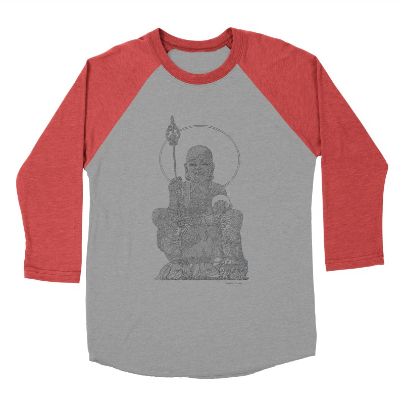 Buddha - One Continuous Line Men's Baseball Triblend Longsleeve T-Shirt by Daniel Dugan's Artist Shop