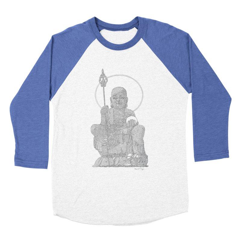 Buddha - One Continuous Line Men's Baseball Triblend Longsleeve T-Shirt by Daniel Dugan's Artist Shop