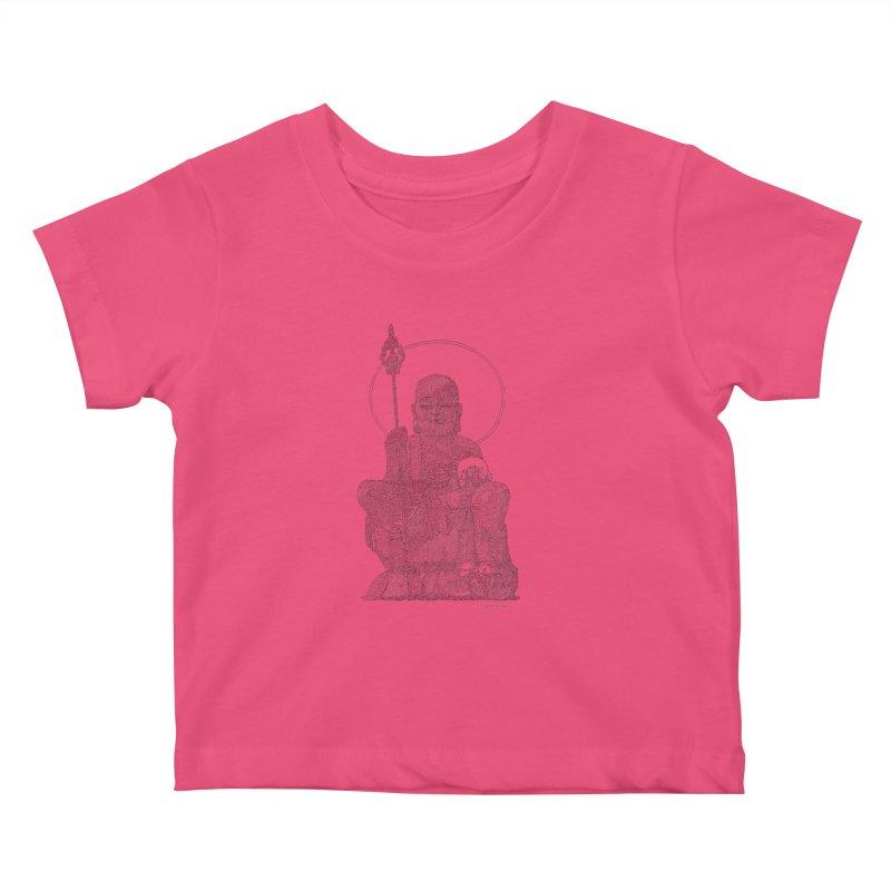 Buddha - One Continuous Line Kids Baby T-Shirt by Daniel Dugan's Artist Shop