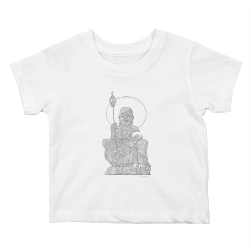 Buddha - One Continuous Line Kids Baby T-Shirt by Daniel Dugan's Artist Shop