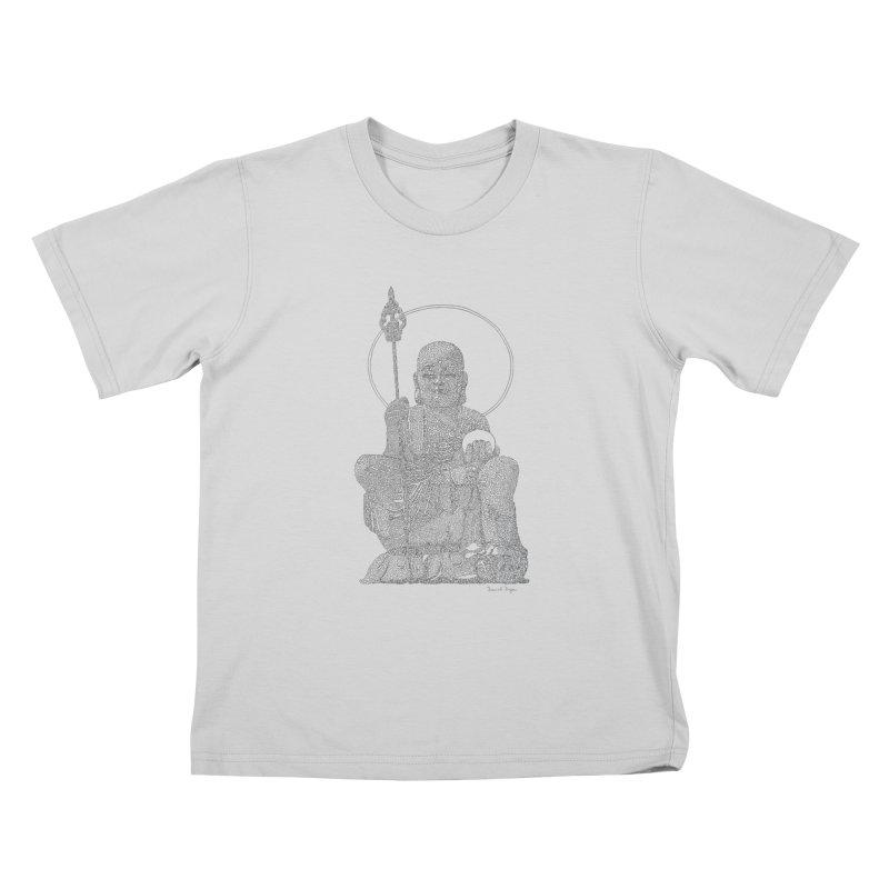 Buddha - One Continuous Line Kids T-Shirt by Daniel Dugan's Artist Shop