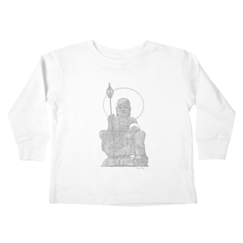 Buddha - One Continuous Line Kids Toddler Longsleeve T-Shirt by Daniel Dugan's Artist Shop