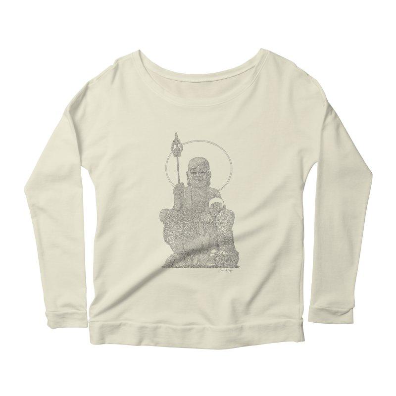 Buddha - One Continuous Line Women's Scoop Neck Longsleeve T-Shirt by Daniel Dugan's Artist Shop