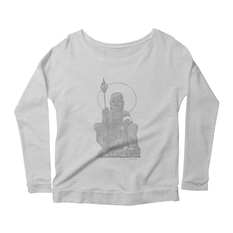 Buddha - One Continuous Line Women's Scoop Neck Longsleeve T-Shirt by Daniel Dugan's Artist Shop