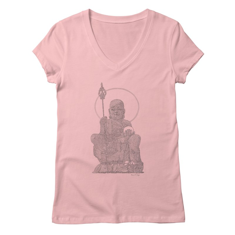 Buddha - One Continuous Line Women's Regular V-Neck by Daniel Dugan's Artist Shop