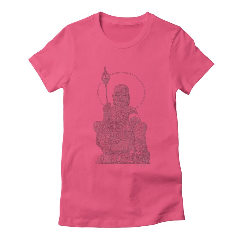 Buddha - One Continuous Line Women's Fitted T-Shirt by Daniel Dugan's Artist Shop