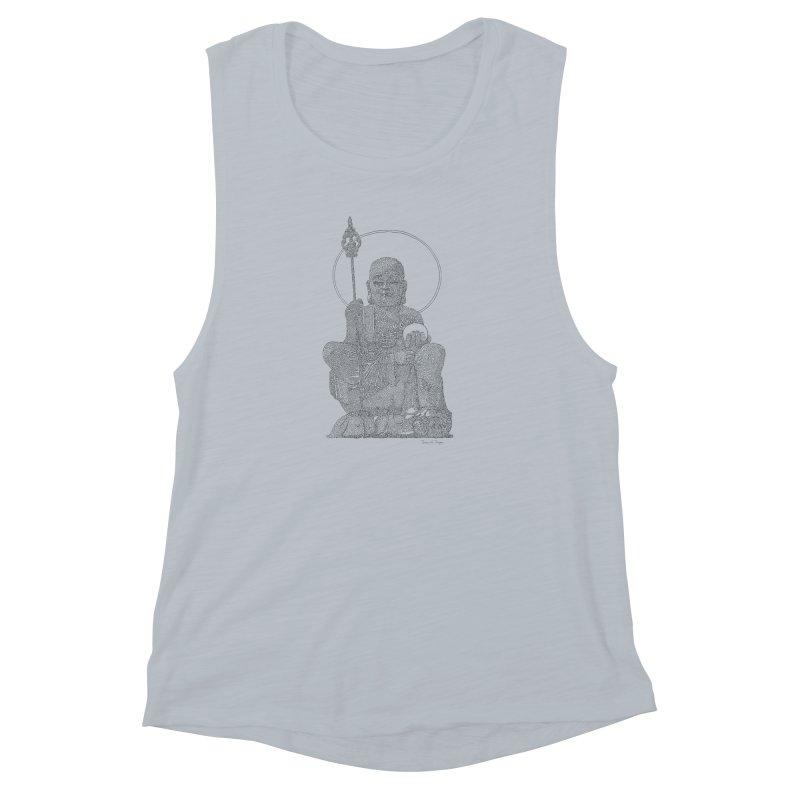 Buddha - One Continuous Line Women's Muscle Tank by Daniel Dugan's Artist Shop