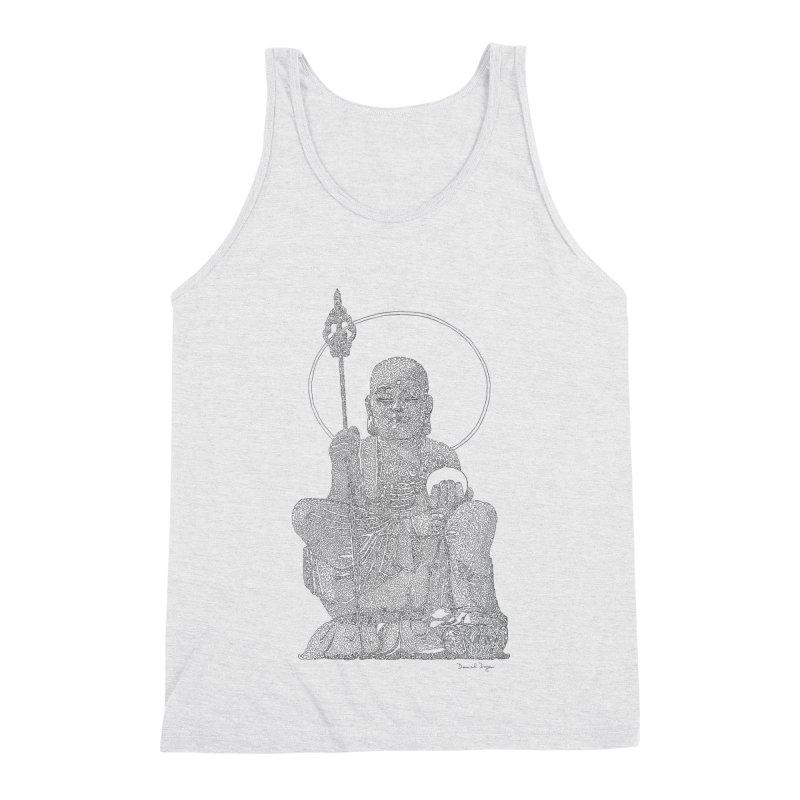 Buddha - One Continuous Line Men's Triblend Tank by Daniel Dugan's Artist Shop