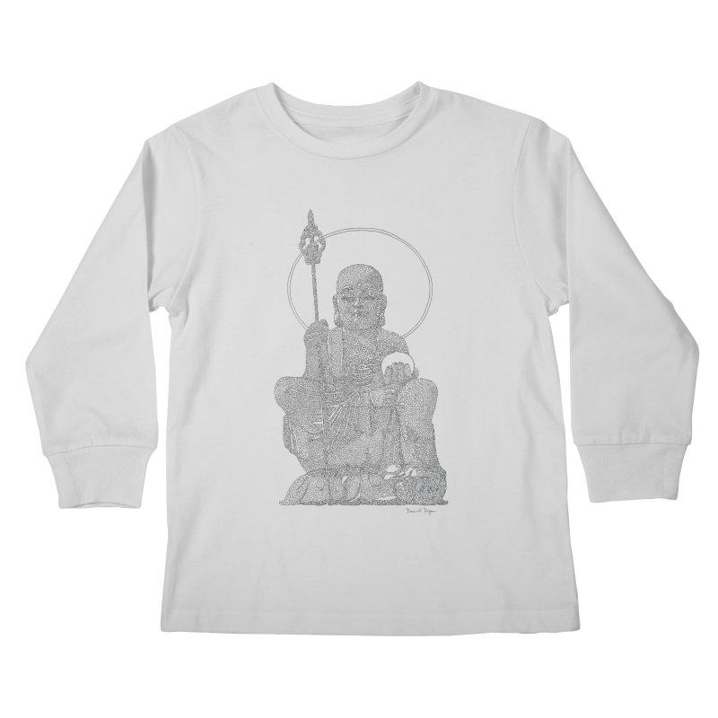 Buddha - One Continuous Line Kids Longsleeve T-Shirt by Daniel Dugan's Artist Shop