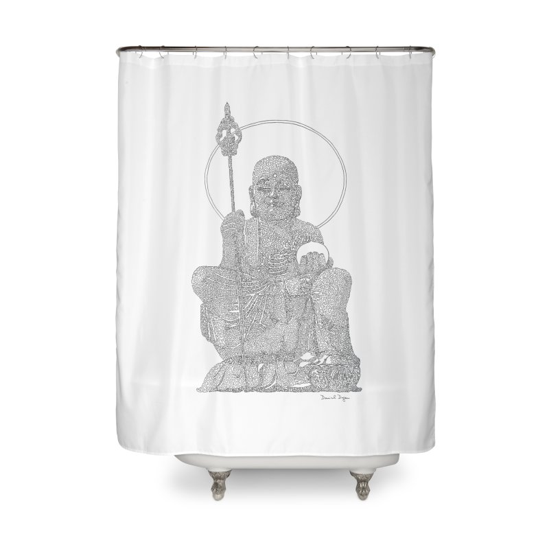 Buddha - One Continuous Line Home Shower Curtain by Daniel Dugan's Artist Shop