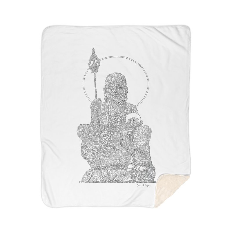 Buddha - One Continuous Line Home Sherpa Blanket Blanket by Daniel Dugan's Artist Shop