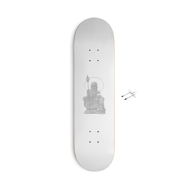 Buddha - One Continuous Line Accessories With Hanging Hardware Skateboard by Daniel Dugan's Artist Shop