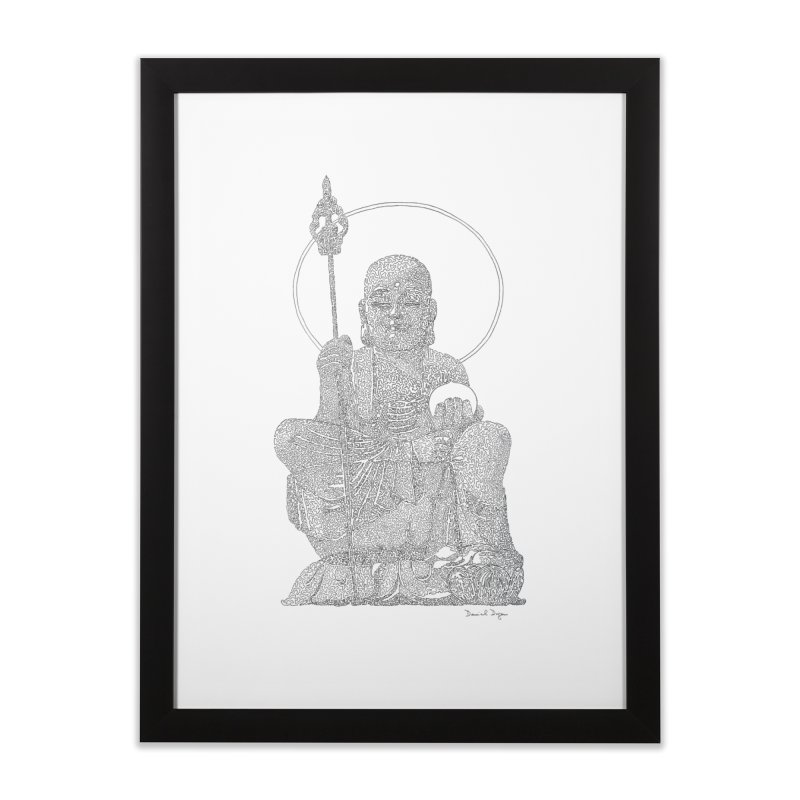 Buddha - One Continuous Line Home Framed Fine Art Print by Daniel Dugan's Artist Shop