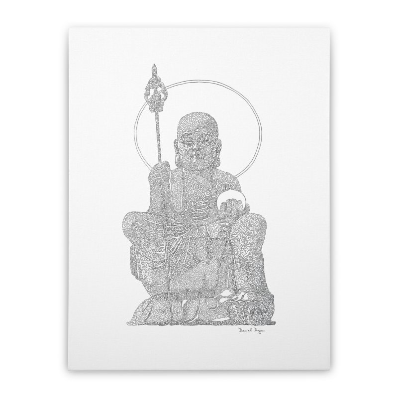 Buddha - One Continuous Line Home Stretched Canvas by Daniel Dugan's Artist Shop